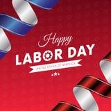 lyckligt arbete för dag Röd lutningbakgrund Våg flagga Röda och blåa lutningband bakgrund 3d gears white vektor Royaltyfria Bilder