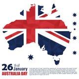Lyckligt baner för Australien dagaffisch Australien flagga Översikt av a Royaltyfri Foto