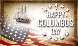 Lyckligt baner för Columbus dag, patriotisk bakgrund arkivfoton