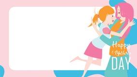 Lyckligt baner för dag för moder` s Barndotter som kör och kramar till hennes mum för att gratulera med vätskeformbakgrund färgri stock illustrationer
