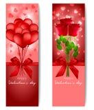 Lyckligt baner för dag för ` s för valentin två i röd färg Royaltyfri Bild