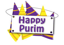 Lyckligt baner för Purim clownhatt Stock Illustrationer
