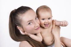 Lyckligt barn moder och barn Arkivfoton