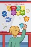 Lyckligt barndombegrepp med den unga pojken som förlägger färgrika pusselstycken stock illustrationer