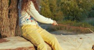 Lyckligt barnsammanträde på en journal och hålla ögonen på solnedgången, höstsäsong stock video