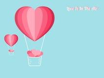 Lyckligt begrepp för dag för valentin` s av förälskelse Ballonger för varm luft för hjärtaform som bär mycket hjärta Pappers- kon stock illustrationer
