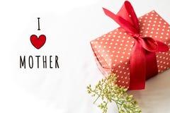 Lyckligt begrepp för dag för moder` s Den gåvaasken och blomman, den pappers- etiketten med ÄLSKAR JAG MODERtext Arkivfoto