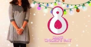 Lyckligt begrepp för mars för dag för kvinna` s 8th Arkivfoto
