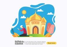 Lyckligt begrepp f?r ramadan mubarak h?lsningvagn med folkteckenet i mosk?n f?r mallen f?r reng?ringsduklandningsida, baner, pres royaltyfri illustrationer