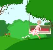 Lyckligt behagfullt kvinnasammanträde i en sommarträdgård royaltyfri illustrationer