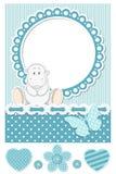 Lyckligt behandla som ett barn den blåa scrapbookseten för flodhästen royaltyfri illustrationer