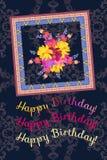 Lyckligt birhday vertikalt hälsa kort med den ljusa buketten av trädgårdblommor och den dekorativa ramen på mörk paisley bakgrund stock illustrationer