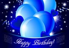 lyckligt blått kort för födelsedag stock illustrationer
