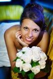 lyckligt bröllop för bukettbrud Arkivfoton