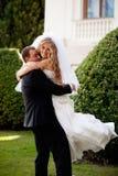 lyckligt bröllop för par Fotografering för Bildbyråer