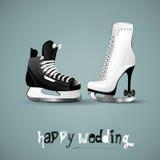 Lyckligt bröllopdiagram skridskor stock illustrationer