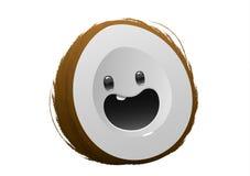 Lyckligt brunt tecken för kokosnötfrukttecknad film Arkivfoton
