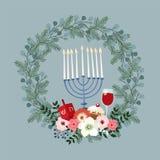 Lyckligt Chanukkahhälsningkort, inbjudan med den hand drog candleholderen, dreidle, munk och blom- krans vektor stock illustrationer