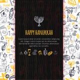 Lyckligt Chanukkahhälsningkort med hand dragen beståndsdelar och bokstäver royaltyfri illustrationer