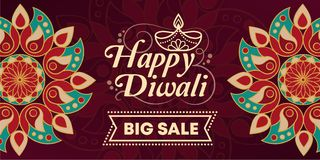 Lyckligt Diwali befordrings- försäljningsbaner stock illustrationer