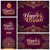 Lyckligt Diwali berömkort stock illustrationer