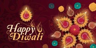 Lyckligt Diwali berömkort med lampor vektor illustrationer