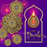 Lyckligt Diwali festivalkort stock illustrationer