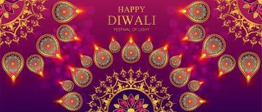 Lyckligt Diwali festivalkort royaltyfri illustrationer