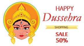 Lyckligt Dussehra hälsningkort Maa Durga Face för hinduisk festival Royaltyfria Bilder