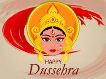 Lyckligt Dussehra hälsningkort Maa Durga Face för hinduisk festival Fotografering för Bildbyråer