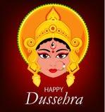 Lyckligt Dussehra hälsningkort Maa Durga Face för hinduisk festival Arkivfoton