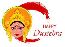 Lyckligt Dussehra hälsningkort Maa Durga Face på abstrakt backgro Royaltyfri Fotografi