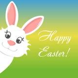 Lyckligt easter hälsningkort med kanin- och textbanret Royaltyfri Bild