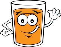 Lyckligt exponeringsglas för tecknad film av att vinka för orange fruktsaft royaltyfri fotografi