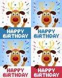 Gullig ren för lycklig födelsedag stock illustrationer