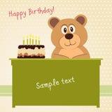Lyckligt födelsedagkort, gullig björn Arkivfoto