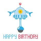 Lyckligt födelsedagkort med roboten Fotografering för Bildbyråer