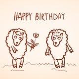 lyckligt födelsedagkort Rolig fårflicka och pojke med Arkivfoto