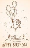 lyckligt födelsedagkort Roliga får med ballonger, Royaltyfri Foto