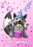 lyckligt födelsedagkort Tvättbjörn med en kaka Stock Illustrationer
