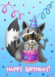 lyckligt födelsedagkort Tvättbjörn med en kaka vektor illustrationer