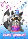 lyckligt födelsedagkort Tvättbjörn med en kaka royaltyfri illustrationer