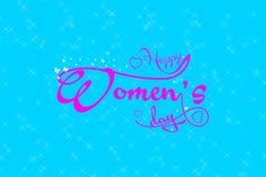 Lyckligt för daghälsning för kvinnor s kort Vykort på mars 8 Arkivbild
