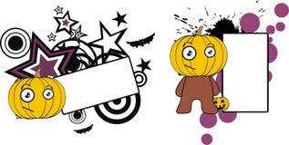 Lyckligt för halloween för pumpaungetecknad film utrymme kopia stock illustrationer
