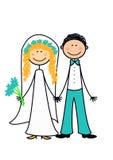lyckligt för par som nytt att gifta sig Arkivbild