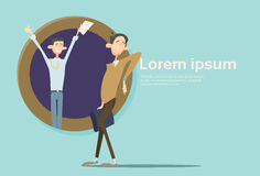 Lyckligt för Team Student Group Banner With för affärsman utrymme kopia stock illustrationer