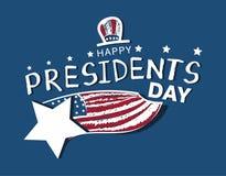 Lyckligt för USA för tappning för dag för president` s kort hälsning royaltyfri illustrationer