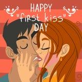Lyckligt första kort för kyssdaghälsning Royaltyfri Fotografi