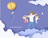 Lyckligt fader dagkort papperssnittstil vektor illustrationer