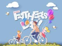 Lyckligt fader dagkort papperssnittstil royaltyfri illustrationer